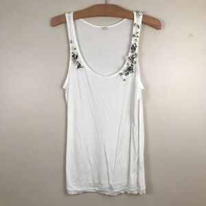 J.Crew Beaded Sequin Tank Top Shirt White Cotton